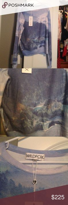 Wildfox rare big sur California bbj Sz m V rare Wildfox big sur ca bbj in Sz m. Sublimated print. Nwt. Really don't want to sell but have decided I need next size up would consider trade for a large or sell to fund other purchases! Gorgeous sweater. Wildfox Sweaters Crew & Scoop Necks