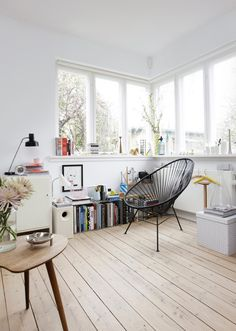 Black chair in white space