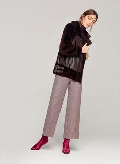 Maroon leather aviator jacket - Coats - Leather - Ready to wear - Uterqüe Spain