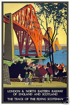 Forth Road Bridge Vintage Travel Poster