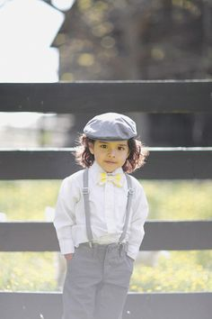 Ring bearer suspenders, cap, and bow tie | Gracie Blue #wedding