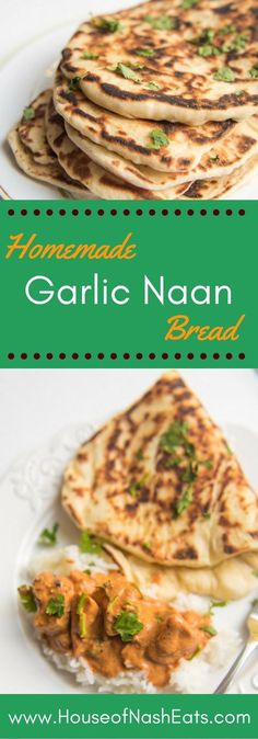 No need for a tandoori oven to make wonderful, warm homemade garlic naan bread to eat with your favorite curries or chicken tikka masala! You can make this soft, delicious bread at home on the stove and have fresh, buttery garlic (or plain) naan any time you want! And it definitely beats the storebought stuff.