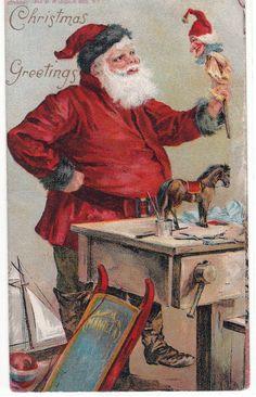 Antique Vintage VICTORIAN CHRISTMAS POSTCARD Santa Claus making toys