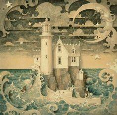 Moon:  Seaswept lighthouse beneath a #Crescent #Moon.