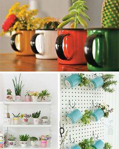 Construindo Minha Casa Clean: Reciclagem de Canecas - Transforme em Lindos Vasos de Flores e Hortas!