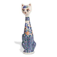 """Kasia"" Polish Pottery Cat Figurine - Handcrafted from the Hearts & Hands of Artisans"