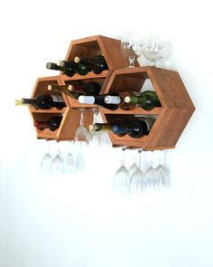 Honeycomb Wine Rack - Mid Century Modern - Kitchen Decor - Hexagon Wine Racks - Modular Wine Storage - Great Wedding Gift - OOAK - Set of 3