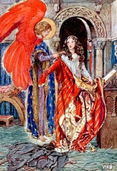 """Elizabeth … prayed to God to clothe her. Illustration by Eleanor Fortescue-Brickdale from """"The story of Saint Elizabeth of Hungary"""" (1910)"""