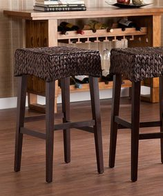 Another great find on #zulily! Water Hyacinth & Pine 26'' Stool - Set of Two by Southern Enterprises #zulilyfinds