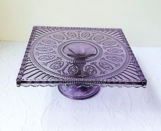 ~Deep Lavender Depression Glass Style Pedestal Cake / Cupcake Stand~