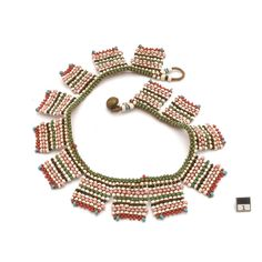Africa | Beaded belt from the Bassouto people of Lesotho.  20th century. Glass beads, copper and fiber.