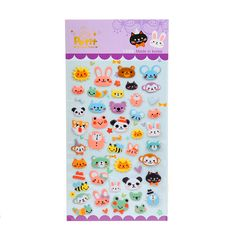 1 Sheet ' Violet animal ' Diary Decoration Kids Stickers 3D PVC Korea Stationery Kindergarten Baby Gift Children Toys +