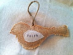 Personalized Burlap Bird Christmas Ornament by SewVintageModern, $6.00