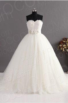 Graceful Ball Gown Sweetheart Natural Train Tulle Ivory Sleeveless Lace Up-Corset Wedding Dress with Feathers and Sashes CWLT14032 #weddingdress #cocomelody