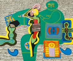 """Walter BATTISS """"Mother of the tribe"""" oil/canvas - cm Contemporary African Art, Contemporary Artists, Modern Art, Walter Battiss, South African Artists, Africa Art, Art Archive, Shape And Form, Mural Painting"""