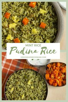 Simple and delicious South Indian style mint rice recipe perfect for a quick lunch or dinner. A perfect dish to pack for lunch as well! #mintrice #rice #mintricerecipe #southindianrice #healthy | vidhyashomecooking.com @srividhyam