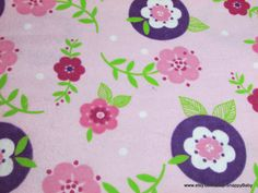 Flannel Fabric  Girly Floral   1 yard  100% Cotton by SnappyBaby