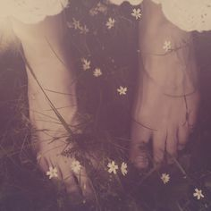 Feet wrapped in flowers