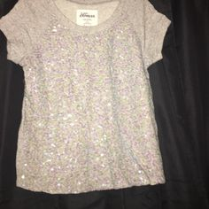 EXPRESS brand, Sparkly T-Shirt Sweater! Like New It is a gray super soft sweater. The front is covered with beautiful sequins! Great T-shirt Sweater Express Tops Tees - Short Sleeve