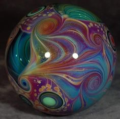 Gorgeous marble art by Mike Gong Art Of Glass, Marble Art, Glass Marbles, Glass Paperweights, Glass Ball, Stained Glass Windows, Lampwork Beads, Fused Glass, Blown Glass