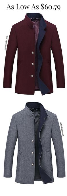 Dress up like a Dandy! Check out this stylish fancy straight men coat in fancy colours - wine marsala, navy blue, mustard and dark grey colours = $60.79. Click to shop.