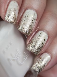 Best Holiday Manicures - Deborah Lippmann Boom Boom Pow and RMK nail color EX P-31 Pure white, white, silver, gold glitter, sparkles
