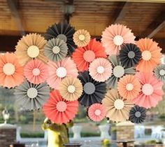 "This stunning rosette backdrop will help add a ""wow"" factor to your wedding! Use as a backdrop behind your food or dessert tables."