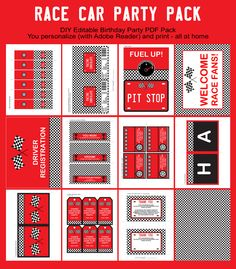 Racing Car Theme Party Printables