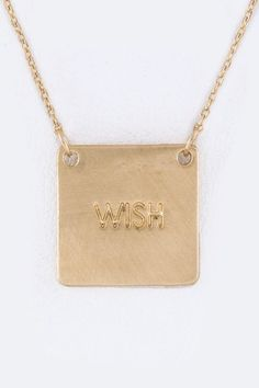 """""""Wish"""" Tag Necklace"""