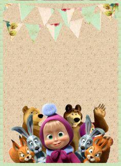 Decorando Minha Festa: ➡ 10 Convite masha e o urso para baixar - Mandals - Costallations - Tattoo compass - Bear Birthday, 1st Birthday Parties, 3rd Birthday, Marsha And The Bear, Birthday Frames, Bear Party, Diy Photo, Cute Dolls, Birthday Party Decorations