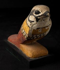 """statuette (painted wood, H. 10.5 cm) of the God Sokar in His form of mummified falcon; 2650-1077 BCE. Now in a private collection..."" ^**^"