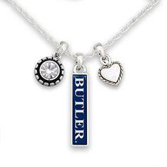 FTH Butler Bulldogs Triple Charm Necklace with Heart, Nameplate and Rhinestone Charms Mississippi State Bulldogs, Oklahoma State Cowboys, Ohio, Louisville Cardinals, Butler Bulldogs, Cincinnati Bearcats, Texas Tech Red Raiders, Last Game, Miami Hurricanes