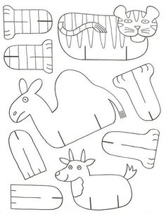 folding paper zoo « Preschool and Homeschool Paper Animals, Zoo Animals, Cardboard Animals, Easy Animals, Paper Toys, Paper Crafts, Art For Kids, Crafts For Kids, Sunday School Crafts