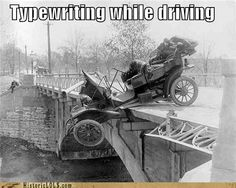 Typewriting while driving--Oh no you didn't Grandma!