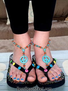 Peace Out ~ visit BecsBeachFeet.com ✿ Foot Jewelry •  Barefoot Sandals • Anklets • Bracelets