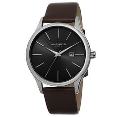 Akribos XXIV Classic Men's Sunray Dial Genuine Leather Strap Watch - Overstock™ Shopping - Big Discounts on Akribos XXIV Akribos XXIV Men's Watches