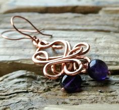 Celtic heart copper and amethyst valentine earrings, valentines day birthday earrings, St Dwynwen earrings,February birthstone celtic hearts