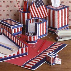 Patriotic Desk Set Plastic Canvas Patterns ePattern