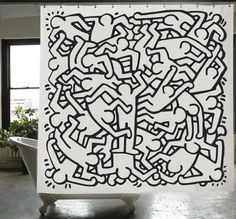 "Izola is proud to offer the officially licensed Keith Haring Shower Curtain. • Material: 100% polyester with sewn eyelets • Color: black and white • Size: 72""x7"