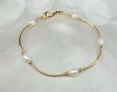 14k Gold White Pearl Bracelet 14k Gold Pearl Bracelet Bridesmaid Bracelet 14k Gold Filled Bracelet Bridesmaid Gift BuyAny3+Get1 Free