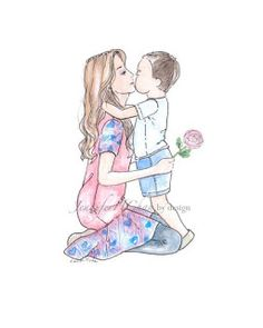 Mother & Son Illustration fashion by JenniferChanbyDesign on Etsy Mommy And Son, I Love My Son, Mom Son, Mother And Child Painting, Painting For Kids, Mother Art, Art Watercolor, Watercolor Illustration, Mothers Love