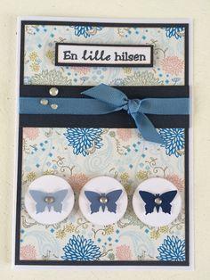 Kort - blå nuancer - sommerfugle