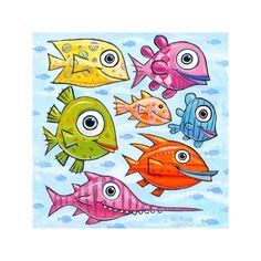 """3D Graphic: """"Swimming North in the South Pacific"""" - FFrankFishArt Fish Artwork, Colorful Artwork, Colorful Fish, Tropical Fish, Cute Fish, Red Fish, South Seas, South Pacific, Giclee Print"""