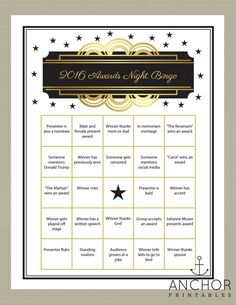 2016 Oscars bingo-- such a fun game. You can customize the name and bingo squares and print them instantly.