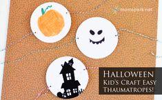 Easy Halloween Kid's Craft Thaumatropes Tutorial. Halloween Food Crafts, Classroom Halloween Party, Halloween Goodies, Easy Halloween, Holidays Halloween, Easy Crafts For Kids, Fun Crafts, Art For Kids, Preschool Art
