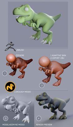 Etapas de desenvolvimento, Dino baby, Modelagem em Zbrush e Modo.