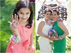 young girl with henna hand tattoos - bride with a close friend - multicultural wedding photography - Lea & Rupal - southern wedding photographers, raleigh nc
