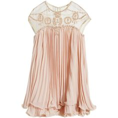 Beads Embellished Pleated Layered Apricot Dolly Dress (€38) ❤ liked on Polyvore featuring dresses, tops, vestidos, short dresses, beaded mini dress, sheer cocktail dress, pleated dress, transparent dress and short pink dress