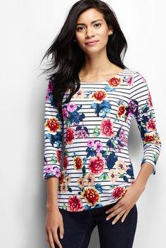 Women's 3/4-sleeve Scoopneck Art T-Shirt from Lands' End