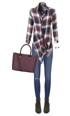 """Plaid shirt"" by pemberlyp ❤ liked on Polyvore featuring Paige Denim, LE3NO, Victoria Beckham, Michael Kors, Étoile Isabel Marant and DKNY"